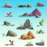 Set of stones, boulders. Vector isolated objects. Bright background images for print, create videos or web graphic design, user interface, card, poster