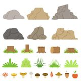 Set of stones of different shapes, forest stumps, logs, bushes, grasses, and mushrooms. Vector illustration royalty free illustration