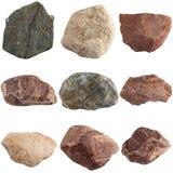 Set of stones isolated on white background. Stock Photography