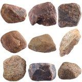 Set of stones isolated on white background. Stock Photo