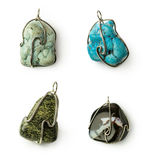 Set of stones pendants Royalty Free Stock Image