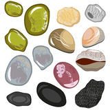 Set of stones from the sea coast. Smooth water polished colored stones. Vector, illustration in flat style isolated. On white background EPS10 Stock Image