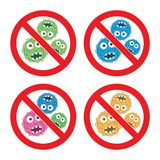 Set of stop bacteria icons. vector  Royalty Free Stock Photo