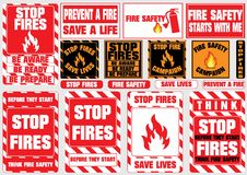 Set of stop fire symbols (be aware, be ready, be prepare, save lives, fire safety, prevent fire, campaign) Stock Photography