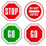 Set of STOP, GO, DO NOT ENTER sign Stock Photo