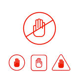 Set of stop hand icons Stock Photography