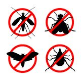 Set of stop insect icons. Set of stop insect vector icons. Insects control services concept. Protection against insects. Anti mosquito, anti fly, anti bug and Vector Illustration
