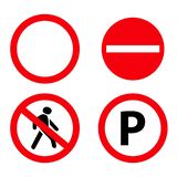 Set of stop road prohibition signs icons vector illustration