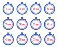 Set of stopwatch icons. Meter seconds at a different stage of time. Set of stopwatch icons, Meter seconds at a different stage of time vector illustration
