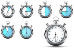 Set of stopwatches. Showing various timing, , isolated on white background Stock Image