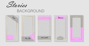 Set of stories template.Design layout backgrounds for social media.Layout, cover for promotion, blog. Mockup photo vector. Set of stories template.Design layout royalty free illustration