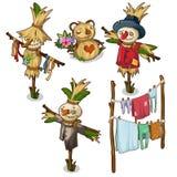 Set strach na wróble, słoma zabawki i osuszka, odziewa royalty ilustracja