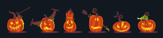Set Straszne Halloweenowe banie Jackolanterns Zdjęcia Stock