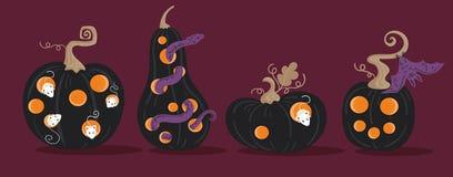 Set Straszne Halloweenowe banie Jackolanterns Zdjęcia Royalty Free