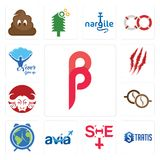 Set of, stratis, she, avia, earth hour, cofee, buffalo brand, claw mark, never give up icons. Set Of 13 simple  icons such as, stratis, she, avia, earth hour Royalty Free Stock Photos