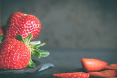 Set with strawberries royalty free stock photo