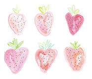Set of strawberries - watercolor style Royalty Free Stock Photography