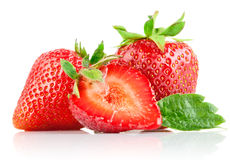 Set strawberry berry with cut and green leaf Stock Photography