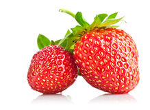 Set strawberry berry with green leaf Stock Images
