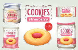 Set of strawberry cookies in different packages Stock Photos
