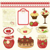 Set of strawberry design elements Stock Photos