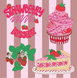 Set with strawberry dessert and lettering Stock Image