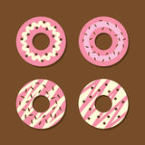 Set Of Strawberry Donuts Royalty Free Stock Images