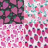 Set of strawberry with leaves seamless pattern stock photography
