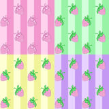 Set strawberry seamless pattern Royalty Free Stock Images