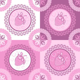 Set strawberry seamless pattern Stock Photos