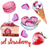 Set strawberry sweets. Cake, candy, ice cream and macaroon. Stock Photography