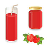 Set of strawberry sweets. Set of strawberry jam and strawberry juice. Ripe strawberry and strawberry slices on a white background Stock Image