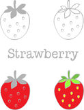 Set Strawberry to gray and Strawberry to red color Stock Photo
