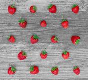 Set of strawberry on wood Stock Photos