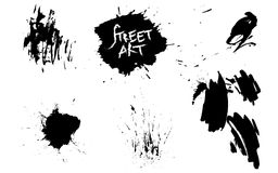 Set of street art elements. Background black and white abstract texture with dark spots and drawing. Set of street art elements. Background black and white vector illustration