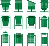 Set of street bins. Stock Vector set of isolated street bins for the city park in the same style of different shapes Stock Images