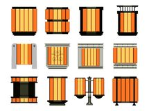 Set of street bins. Stock Vector set of isolated street bins for the city park in the same style of different shapes Royalty Free Stock Photos