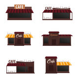 Set of street Cafe. Coffeeshop. City cafe. Flat design concept. Vector illustration. Royalty Free Stock Photo