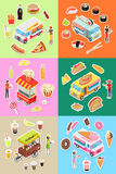 Set of Street Fast Food Eatery on Wheels Vectors Royalty Free Stock Photography