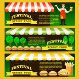 Set Street fast food festival flyers. Flat style colorful vector illustration with seller, hamburger, potato fries, hot dog, design elements vector illustration