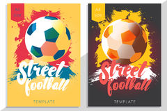 Set of street football poster design in A4 size. Vector soccer f Royalty Free Stock Photography