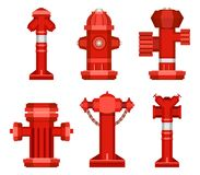 Set of street hydrants. Stock Vector set of  red fire hydrant on a white background Stock Image