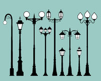 Set of street lamps in flat style Royalty Free Stock Image