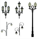 Set of street lamps. Of various designs Royalty Free Stock Images