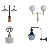 Set of street lamps. Of various designs Royalty Free Stock Image