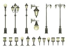 Set of street lamps. Vector set of street lamps and small garden lamps on a white background Stock Photography
