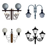 Set of street lights. Vector illustration.Street lamps of different configurations Royalty Free Stock Photos
