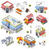 Set Of Street Restaurant And Cafe Isometric Icons Stock Image