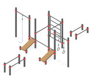 Set of street workout area elements. Stock Image