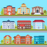 Set of streets. With office or administrative buildings, outdoor cartoon architecture set, vector illustration Royalty Free Stock Image